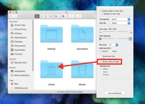 Mostra la cartella Libreria utente in MacOS