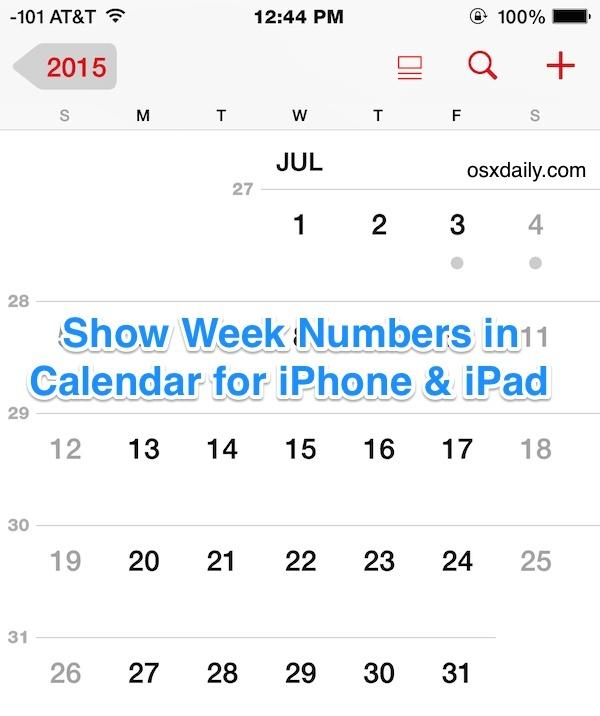 Mostra i numeri delle settimane nell'app Calendario per iOS