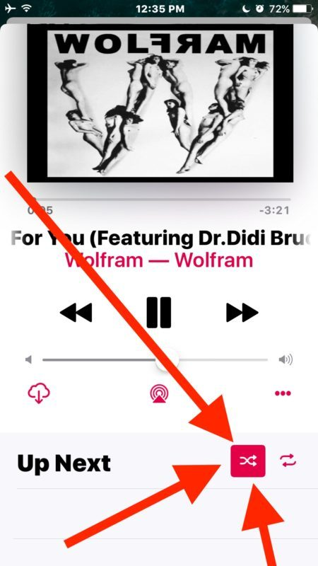 Pulsante Shuffle in iOS 10 Music