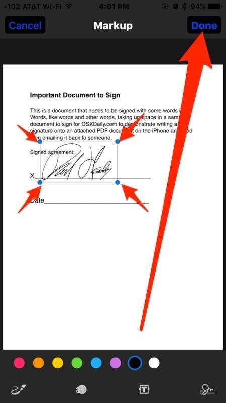 Regola la firma secondo necessità e tocca Fatto