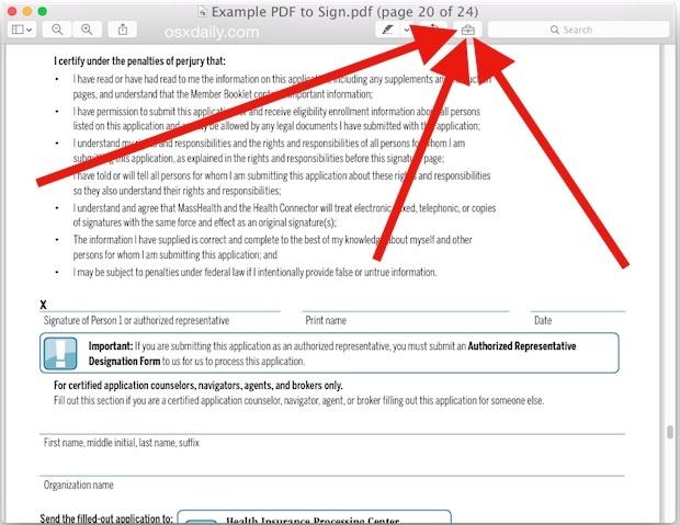 Accedere alla barra degli strumenti Anteprima in Mac OS X.