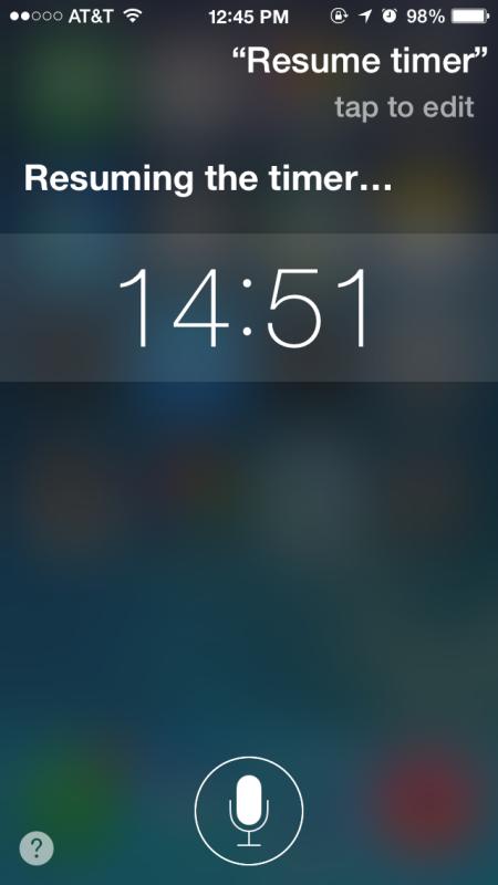 Riprendi un timer sospeso con Siri