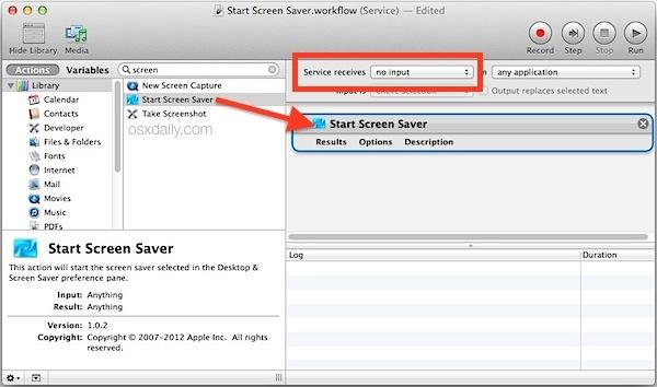 Crea un servizio di screen saver in Automator per Mac
