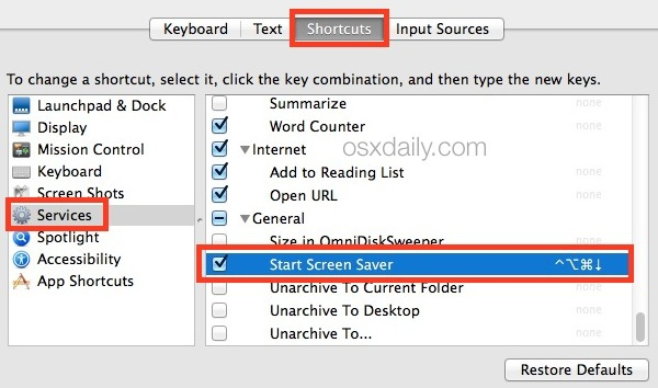 Imposta la sequenza di tasti per Screen Saver in Mac OS X.