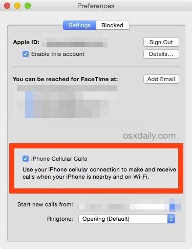 Disattiva le chiamate cellulari di iPhone da squilli sul Mac