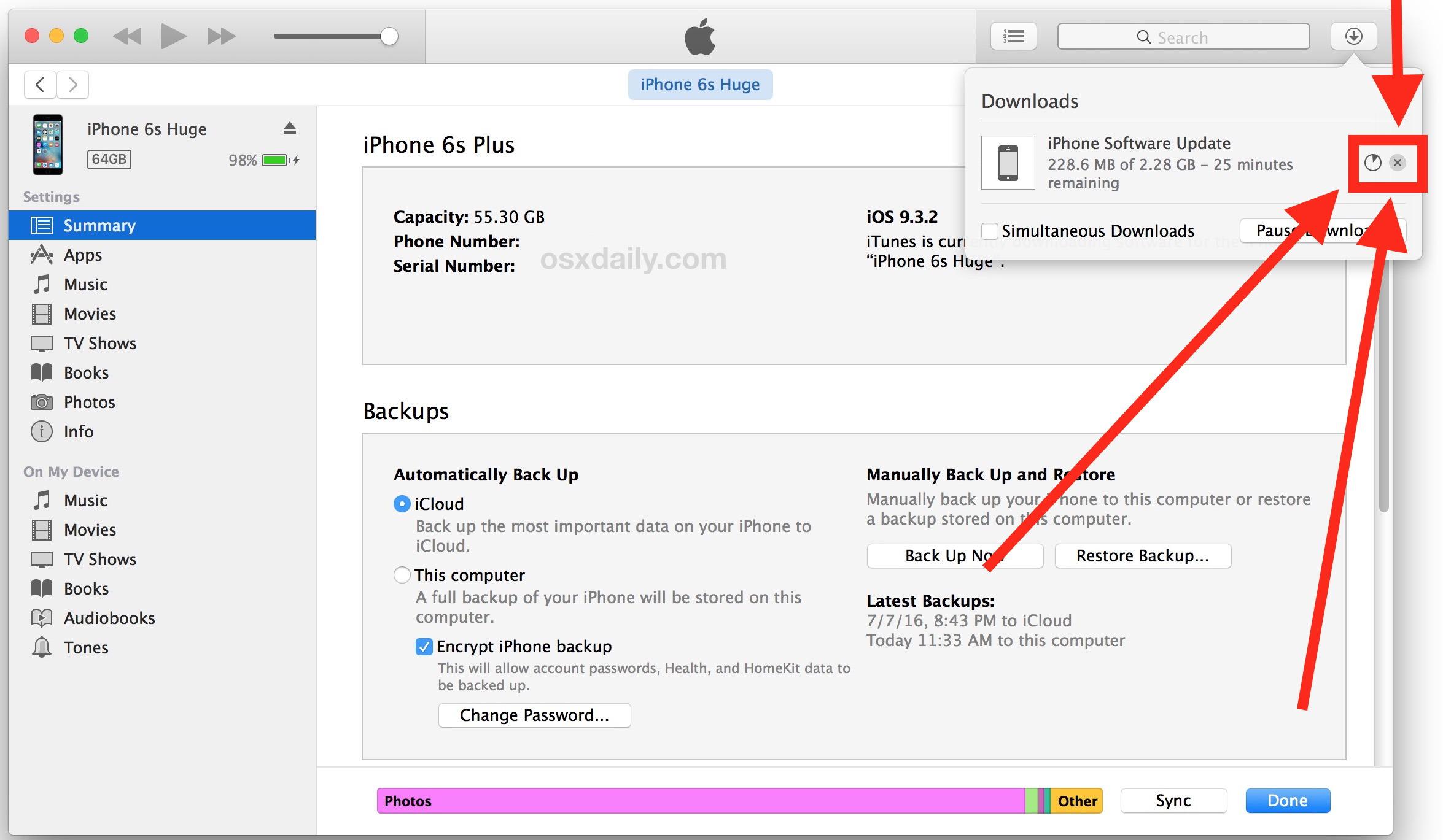 Fai clic per interrompere il download di iOS in iTunes