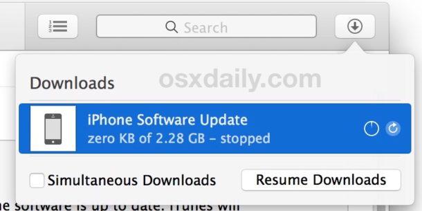 Arresta iTunes dall'aggiornamento del software iOS