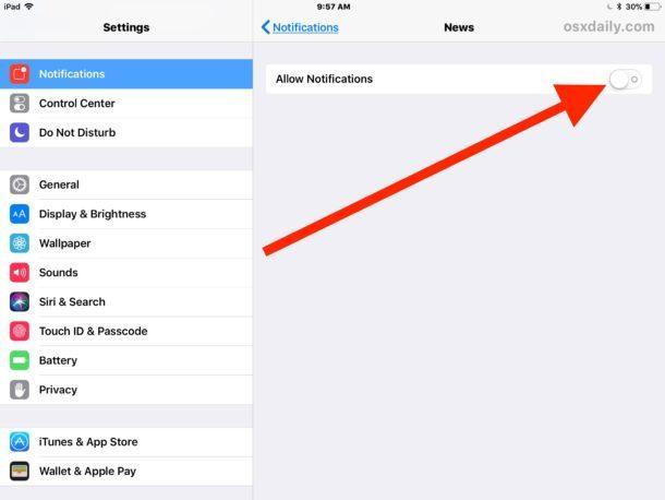 Nascondi TUTTE le notifiche e gli avvisi da Notizie su iOS
