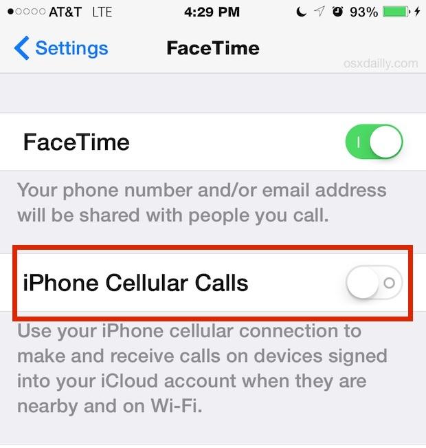 Impostazione delle chiamate cellulari iPhone