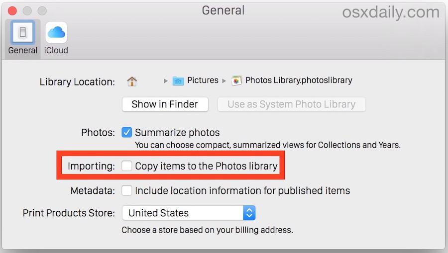 Disabilita la funzione di importazione di foto per smettere di copiare le immagini nella libreria di foto in OS X
