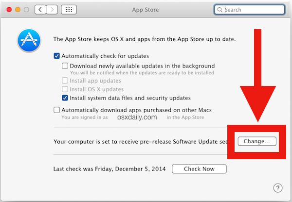 Arresta il software Beta di OS X visualizzato nell'App Store