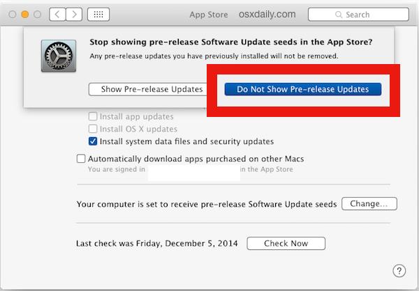 Nascondi gli aggiornamenti beta pre-rilascio in Mac OS X