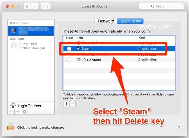 Rimozione di Steam dall'elenco delle app di accesso automatico