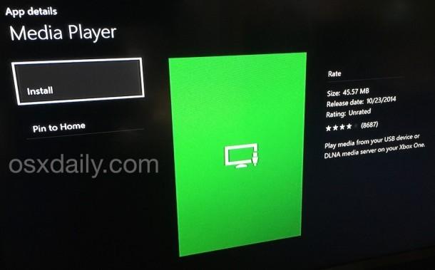 Scarica l'app di Media Player Xbox One se non lo hai ancora fatto
