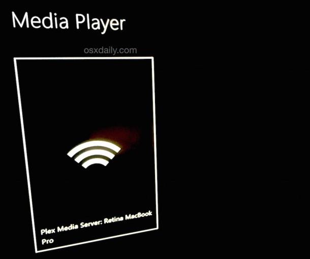 Media Player su Xbox One ha trovato il Plex Server su un Mac