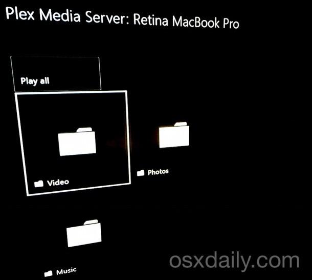 Navigazione su Plex Media Server su Xbox One