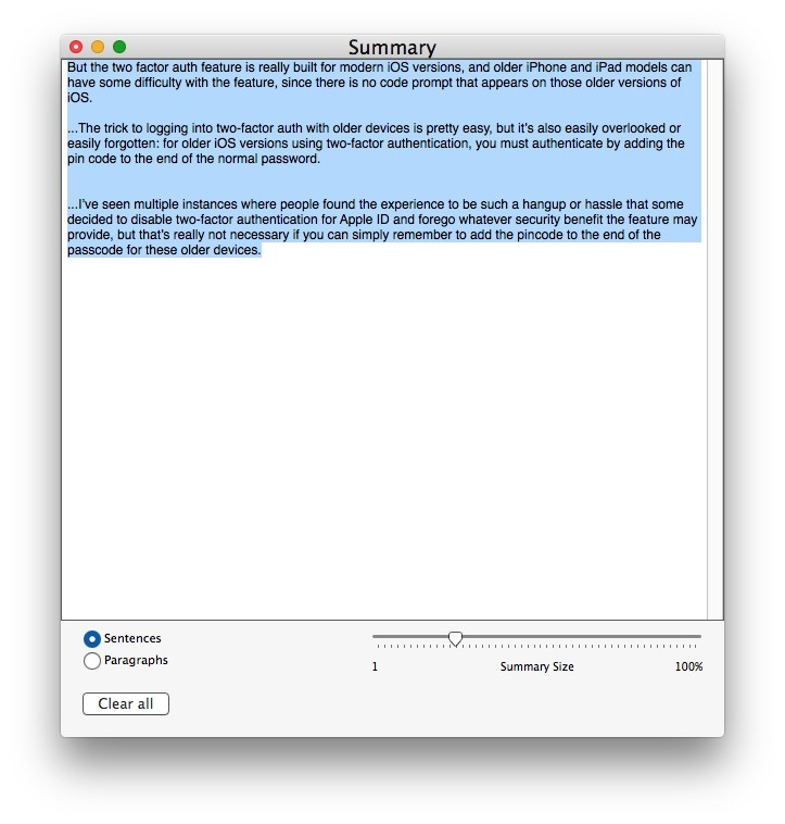 Regolare il riepilogo del testo su Mac
