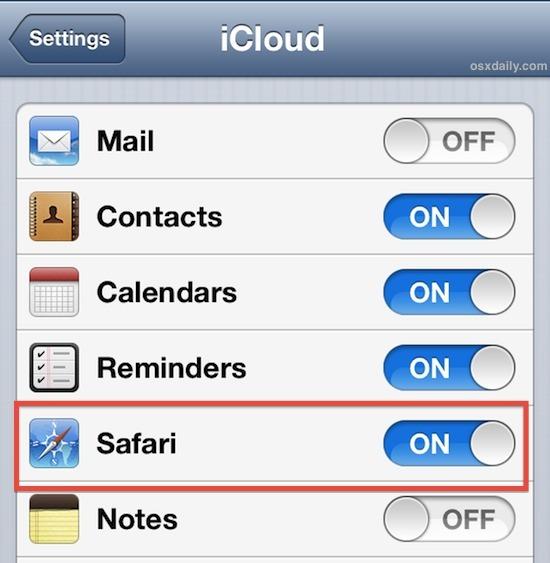Sincronizza i segnalibri di Safari con iCloud in iOS
