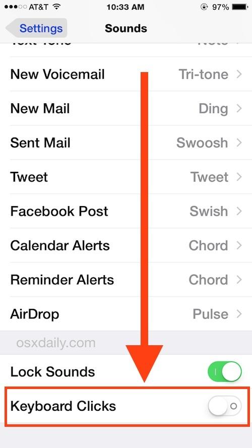 Suono di clic della tastiera in Impostazioni iOS