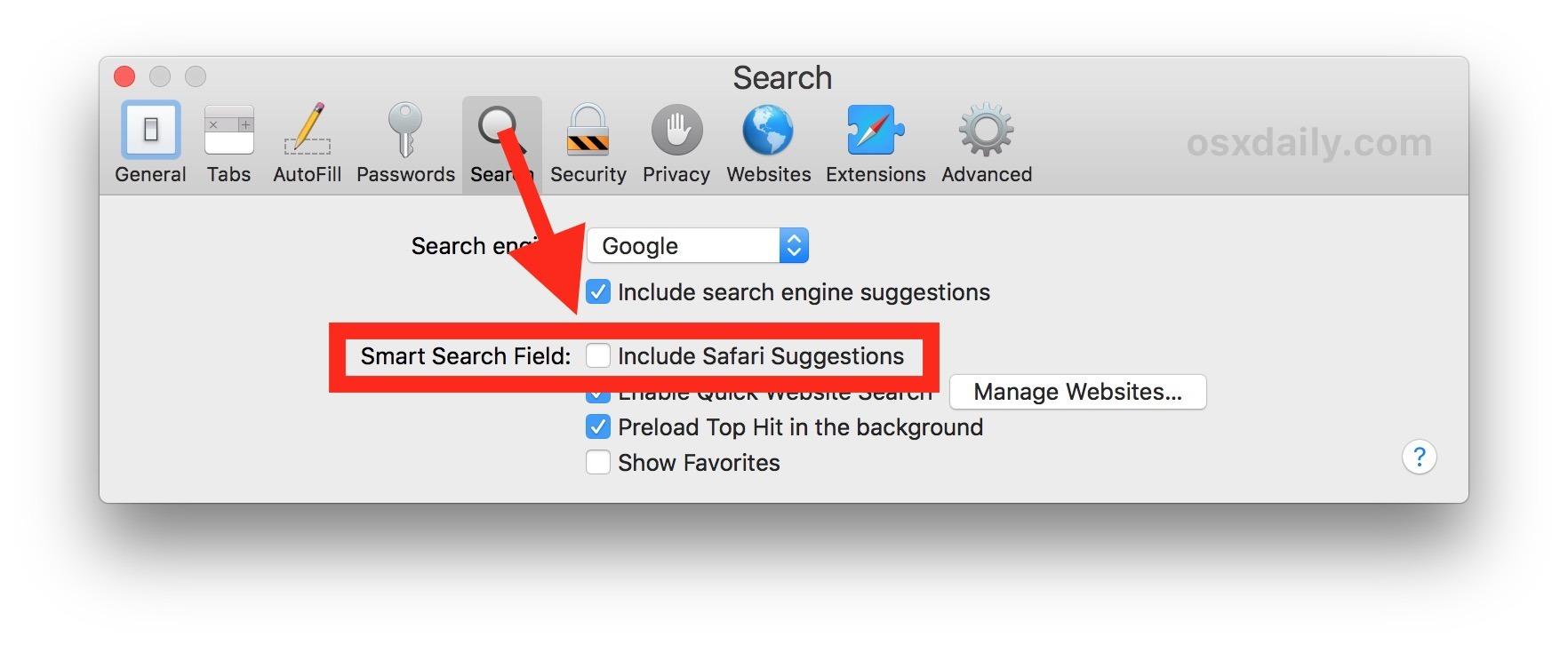 Disattiva i Suggerimenti Safari su Mac