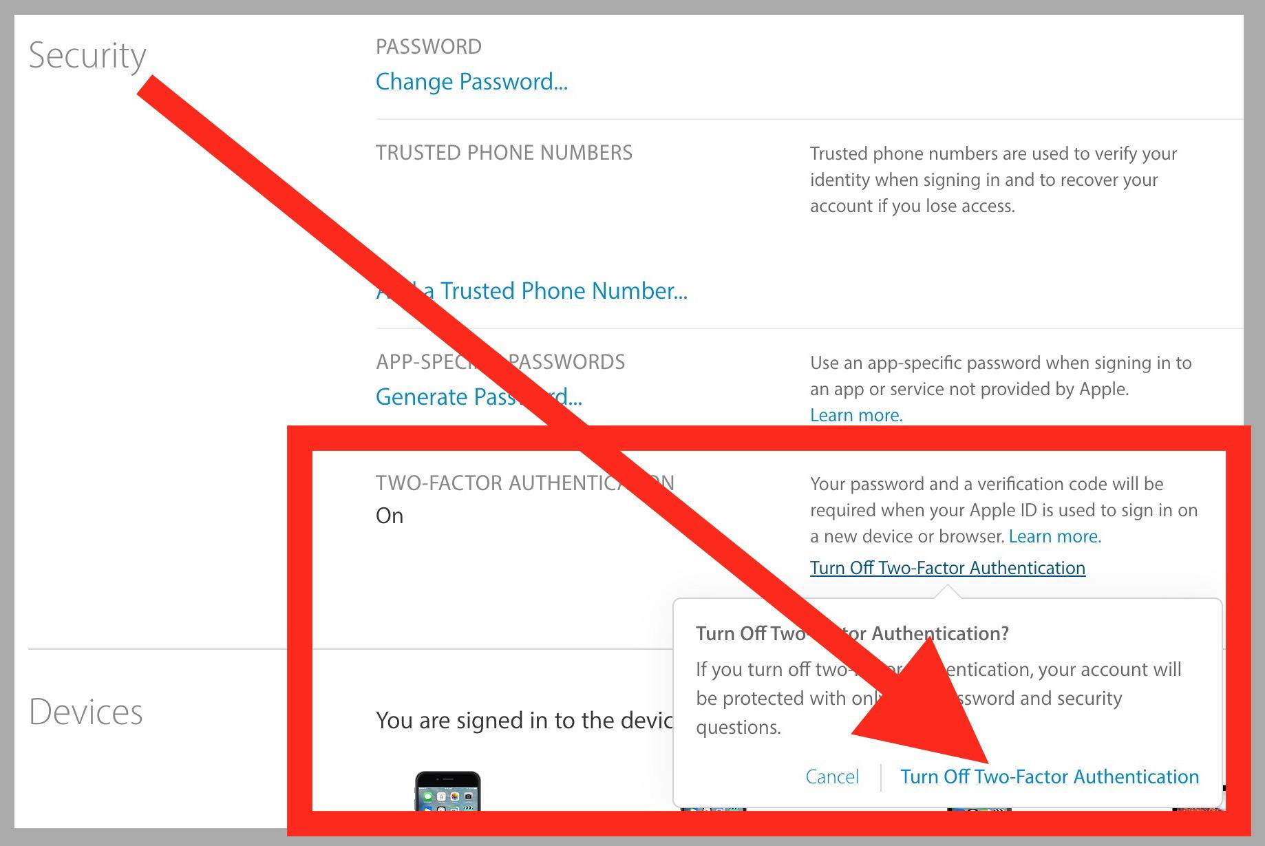 Disattiva l'autenticazione a due fattori per l'ID Apple
