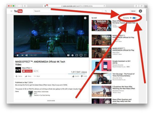 Disattiva il video di riproduzione automatica di YouTube