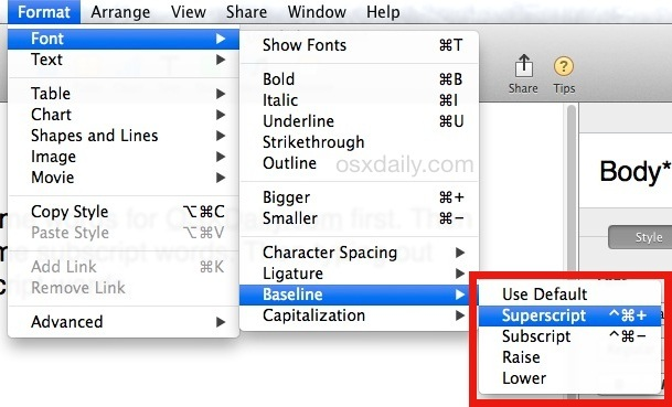 Digitare apice o pedice nell'app Mac OS X Pages