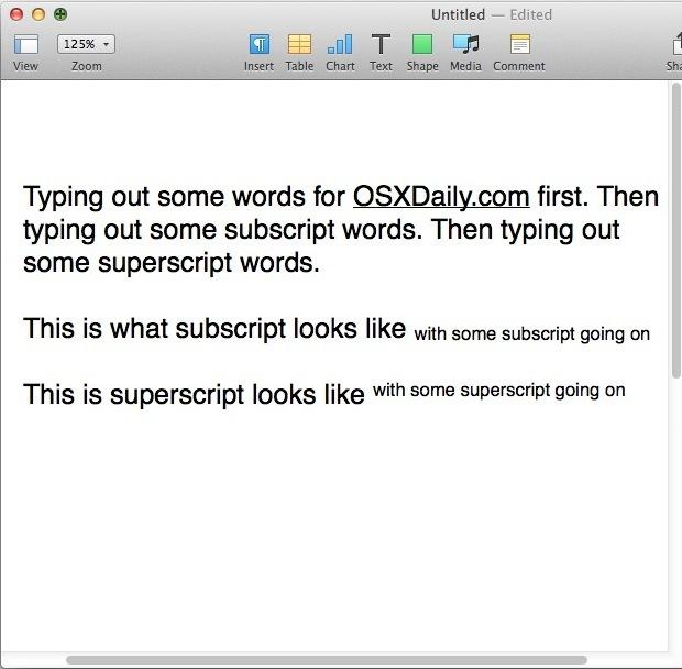 Digitare pedice e apice in Pages per OS X