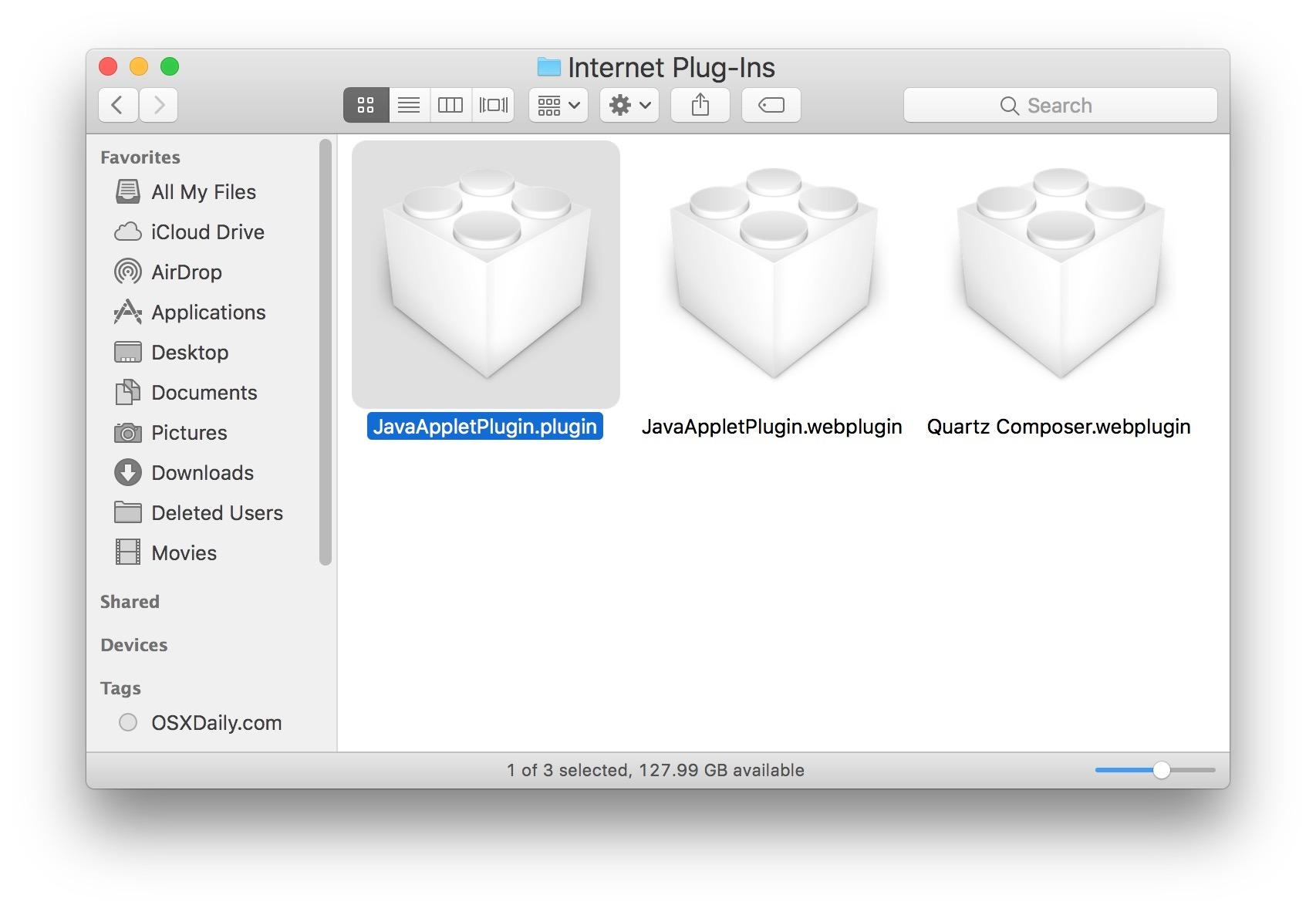 Trova e rimuovi il plugin Java su Mac per disinstallare Java
