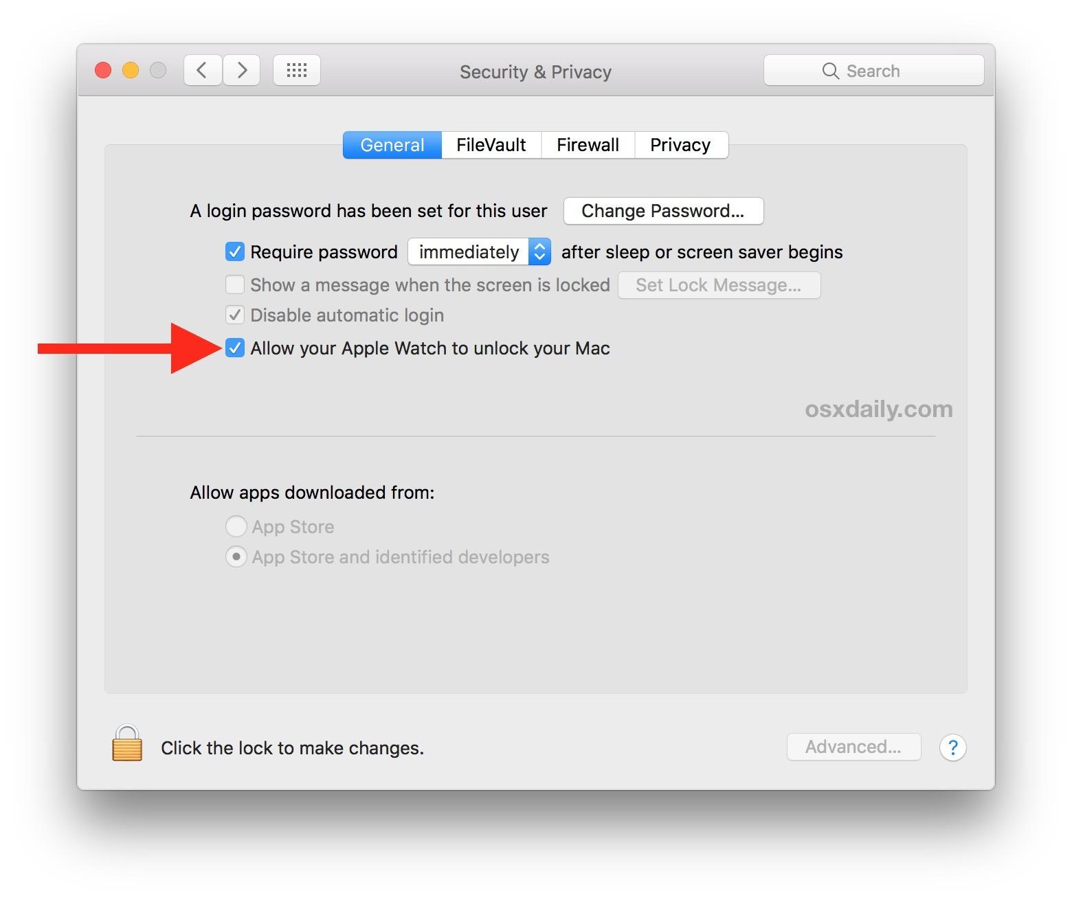 Permetti a Apple Watch di sbloccare il Mac