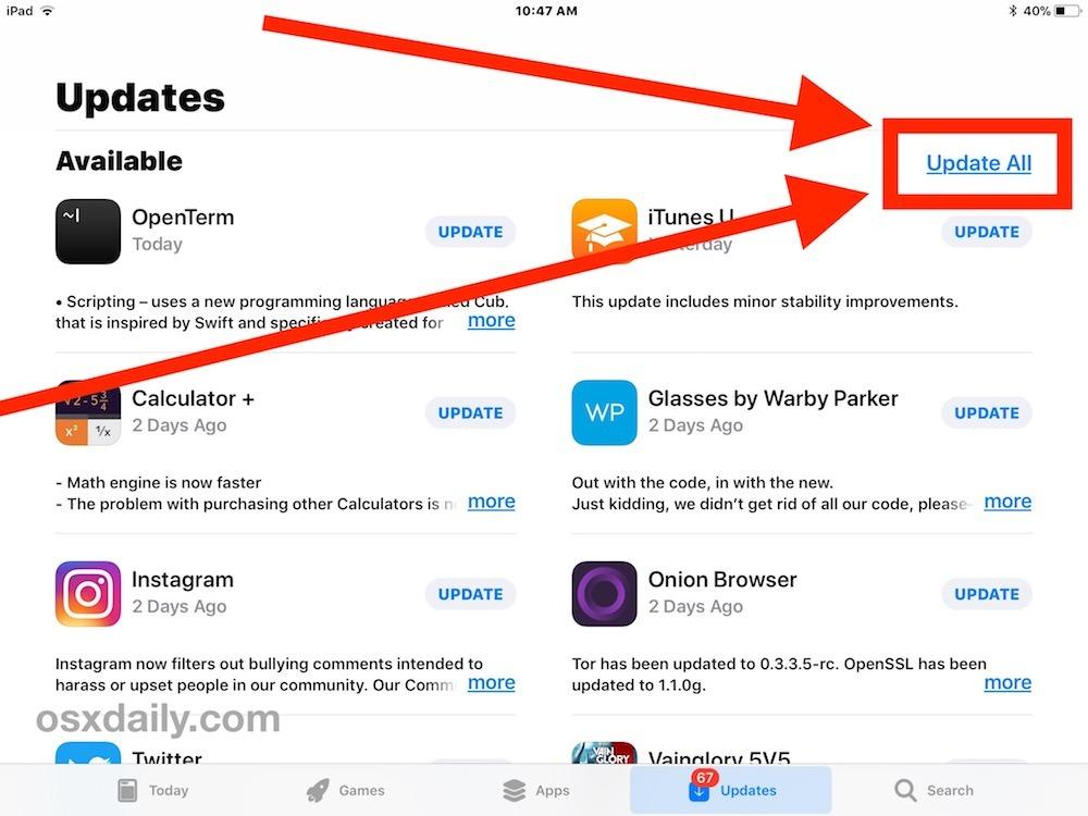 Come aggiornare tutte le app su iOS