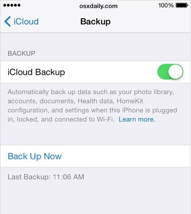 Backup su iCloud in iOS