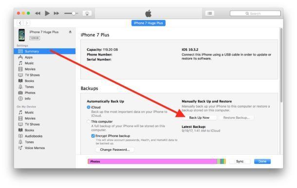 Backup di dispositivi iOS in iTunes