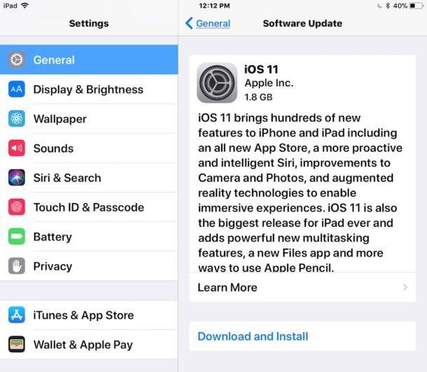 L'aggiornamento di iOS 11 può essere installato nell'aggiornamento software