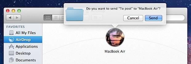 Invio di un file tramite AirDrop in Mac OS X
