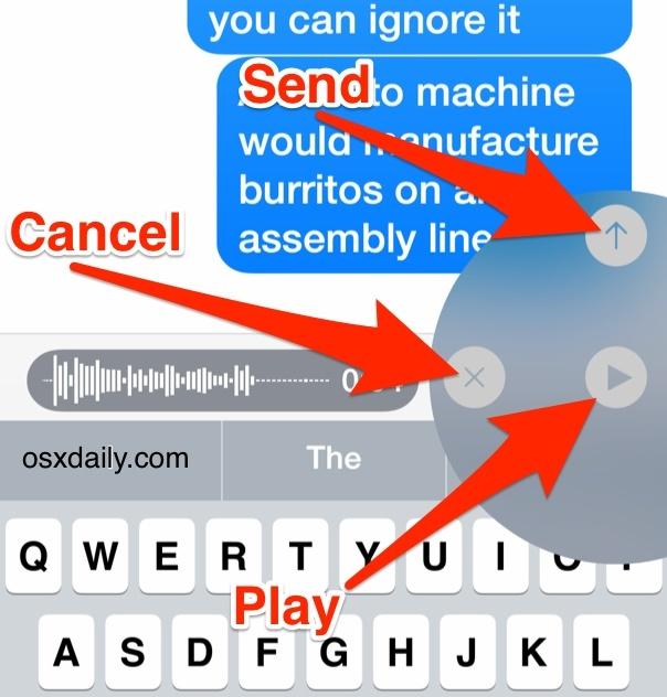 Controlli dei messaggi audio in iOS