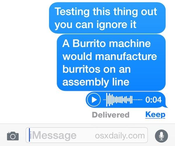 Messaggio audio in iOS
