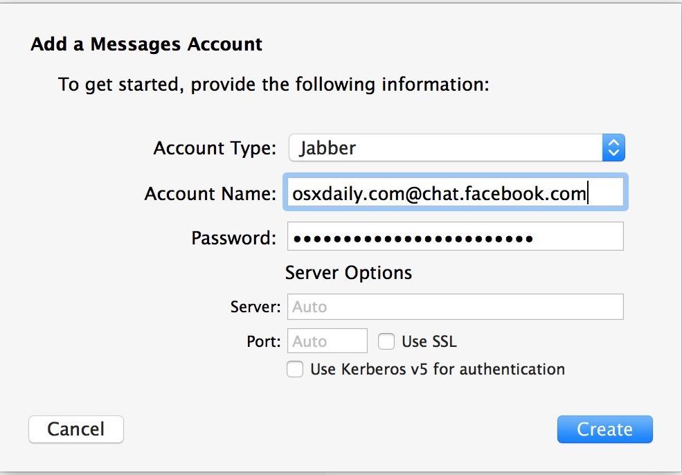 Aggiungi la chat di Facebook per il supporto di Facebook Messenger nell'app Messaggi di Mac OS X.