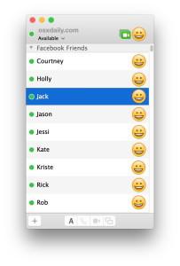 Elenco amici amici di Facebook Messenger nell'app Messaggi di OS X