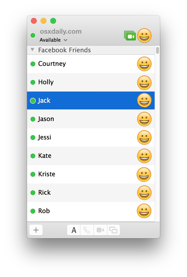 Elenco di amici di Facebook Messenger nell'app per Messaggi Mac