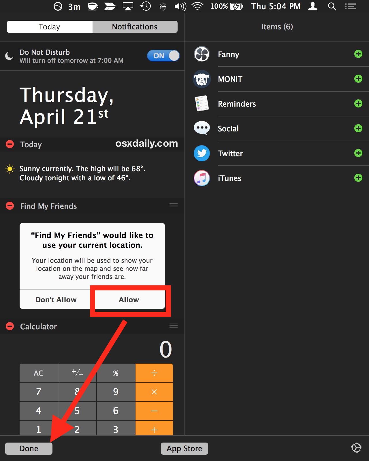 Consenti servizi di localizzazione sul widget Mac My Friends