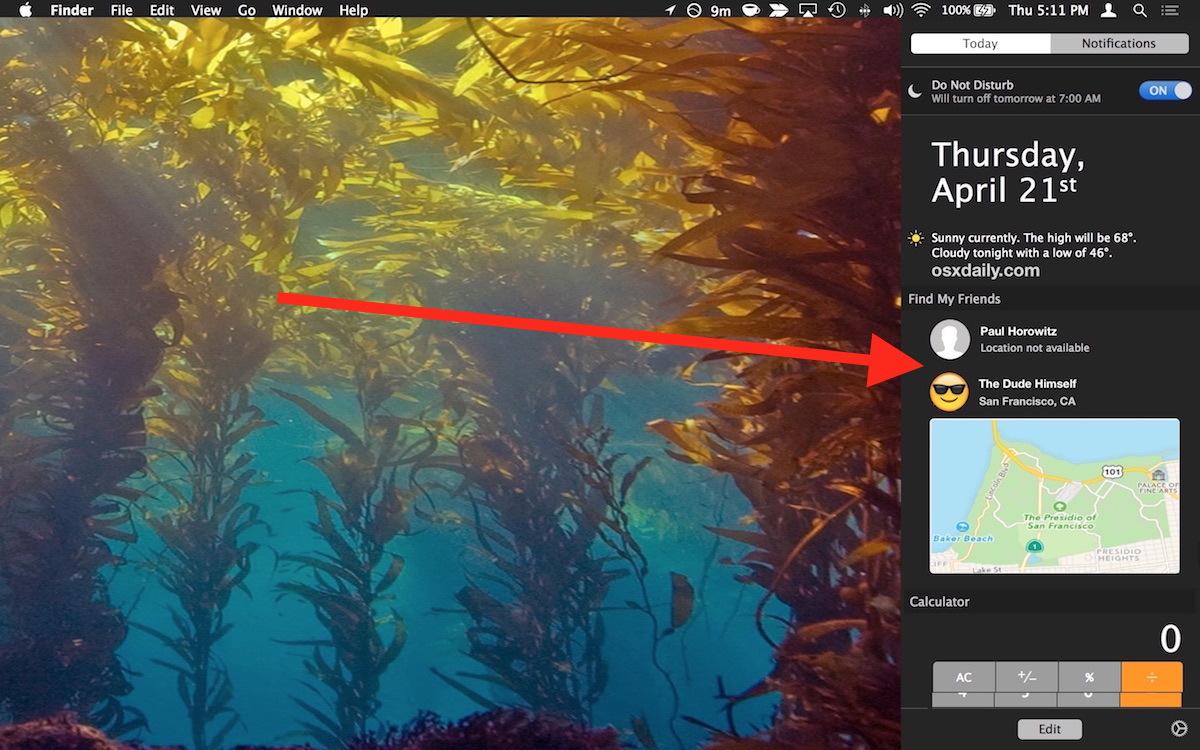 Utilizzando Trova i miei amici su Mac OS X