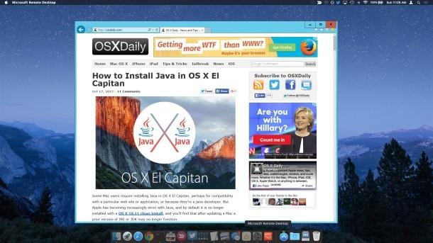Utilizzo di Internet Explorer 11 su un Mac
