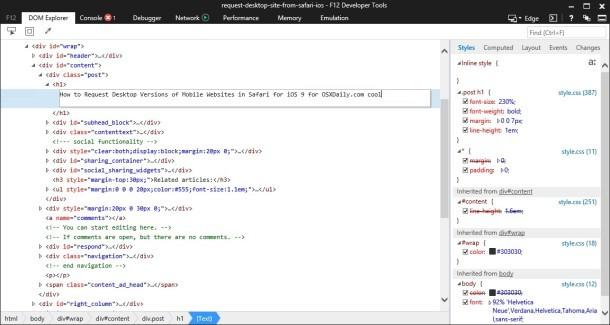 Strumenti per sviluppatori di Internet Explorer su Mac OS X