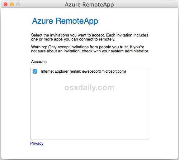 Utilizzo di IE 11 su Mac con RemoteApp Azure