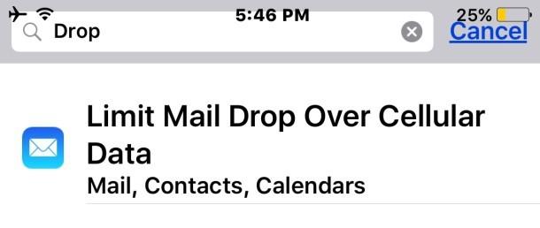 Le impostazioni di iOS Mail Drop in iOS non sono visibili