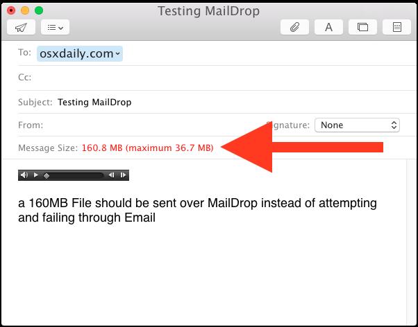Invio di file di grandi dimensioni con Mail Drop