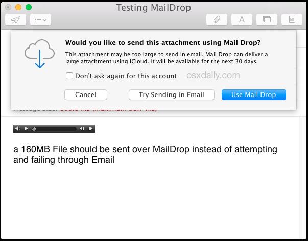 Utilizza Mail Drop per inviare un file di grandi dimensioni tramite e-mail in Mac OS X