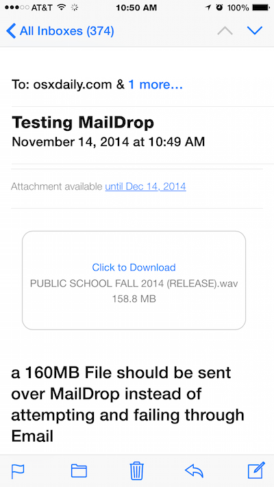 Mail Drop in email per iOS
