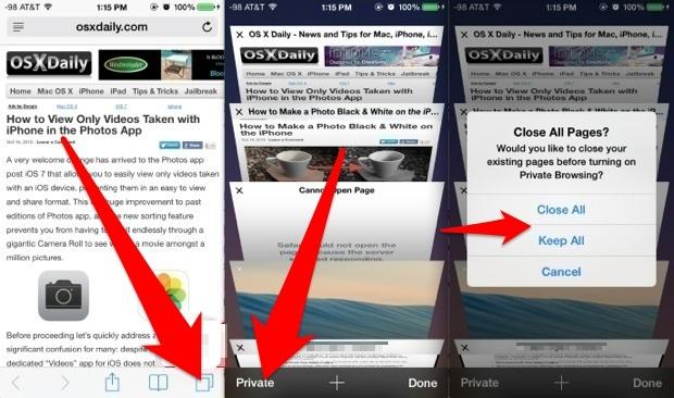 Utilizza la navigazione privata in iOS